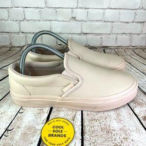 Vans, Pink Slip On Leather, women 8 / men 6.5